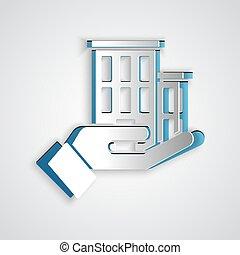 concept., coupure, assurance, gris, sécurité, sécurité, art, maison, style., icône, isolé, protéger, vecteur, arrière-plan., protection, papier