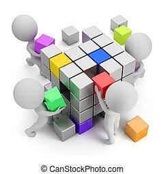 concept, créer, gens, -, petit, 3d