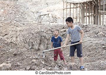 concept, décembre, main-d'œuvre, travail, creuser, enfants, 10., trafic, violence, jour, droits, forcé, poverty., because