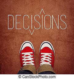 concept, décision, jeunesse, confection, vue dessus