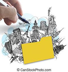 concept, dessine, autour de, reussite, voyage, main, mondiale, dossier, rêve
