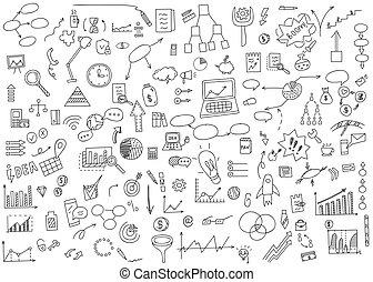 concept, dessiner, éléments, finance, business, griffonnage, graph., diagramme, illustration, main, earnings., analytics, vecteur, argent, icône, monnaie