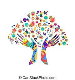 concept, diversité, arbre, main, culture, humain