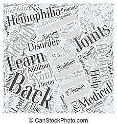 concept, douleur, hémophilie, dos, mot, nuage