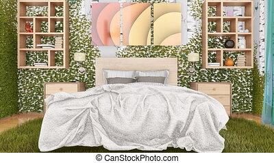 concept, eco, conception, 4k, chambre à coucher, intérieur, vert