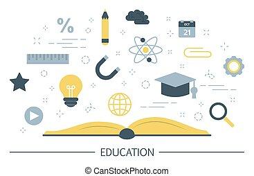 concept., education, connaissance, apprentissage, idée