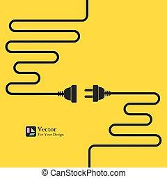 concept, electricity., déconnexion, connexion