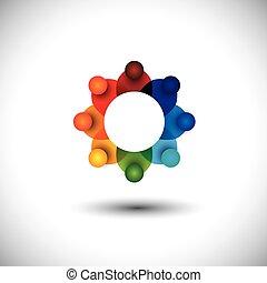 concept, employés, ou, vecteur, réunion, ouvriers, cadres