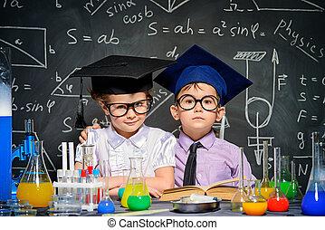 concept, enfants, intelligent