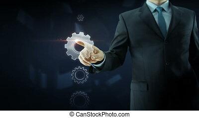 concept, engrenage, business, texte, travail, reussite, équipe, rouges, homme