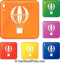 concept, ensemble, icônes, couleur, voyage, global, vecteur