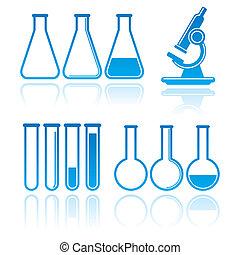 concept, ensemble, science, icons., équipement, vecteur, laboratoire