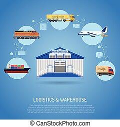 concept, entrepôt, logistique