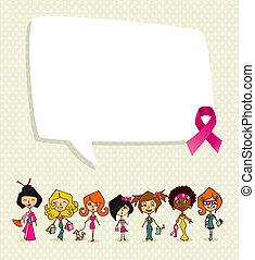 concept, eps10, cancer, communication, global, organisé, fichier, ruban, couches, média, editing., parole, facile, bulle, conscience, diversité, symbole., poitrine, femmes, illustration., idée, vecteur, social