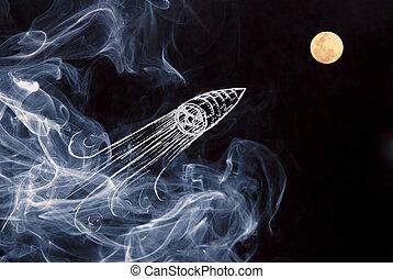 concept, espace, créativité, lune, fond, bateau