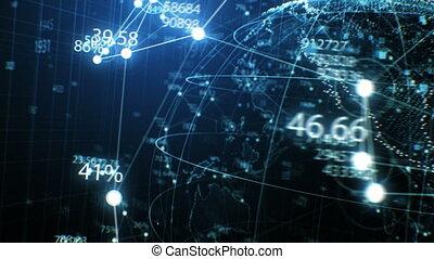 concept, fait boucle, nombres, la terre, close-up., technologie, bleu, seamless, animation, 3840x2160, 3d, points, réseau, tourner, business, hd, dof, blur., 4k, ultra, hologramme, futuriste