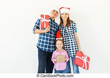 concept, famille, fond, blanc, fetes, noël, -, présente, célébration, heureux
