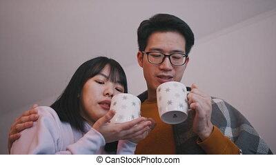 concept, famille, nouveau marié, amour, boisson, film regardant, couple, chaud, couvert, jeune, blanket., asiatique, boire