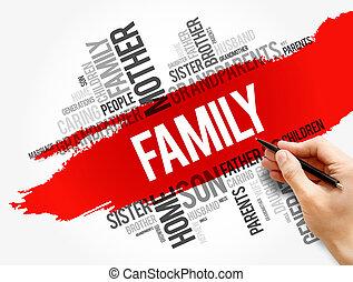 concept, famille, social, collage, mot, nuage