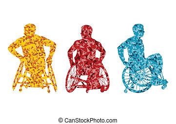 concept, fauteuil roulant, hommes, handicapé, vecteur, fond, actif