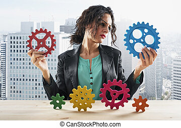 concept, femme affaires, travail, association, tries, collaboration, gears.