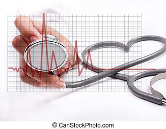 concept, femme, stethoscope;, main, santé, tenue, soin