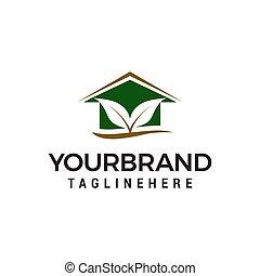 concept, feuille, maison, vecteur, conception, gabarit, logo