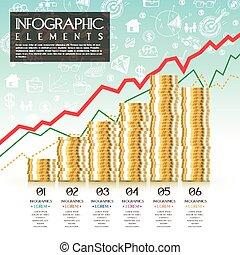 concept, financier, infographic, conception, gabarit