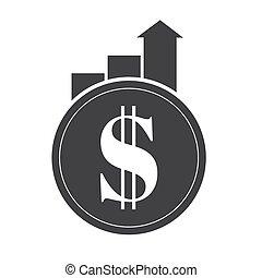 concept., financier, vecteur, roi, croissance, performance, arrow., retour, investissement, illustration, finance