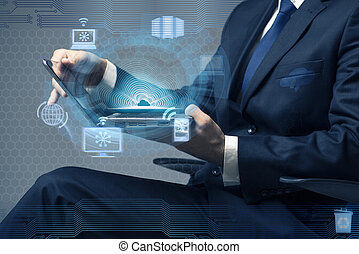 concept, fonctionnement, calculer, ordinateur portable, homme affaires, nuage