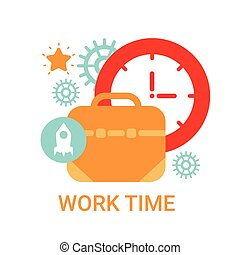 concept, fonctionnement, processus, travail, temps, organisation, bannière, icône