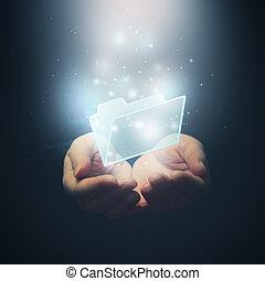 concept., foyer., sélectif, fichier, mains, téléchargement, document, ouvert, folder.