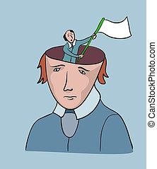 concept, freedom., créatif, drapeau, humain, problème social, reddition, homme