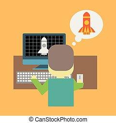 concept, fusée, prendre, démarrage, pc, devant, modelage, homme, ou, fermé.