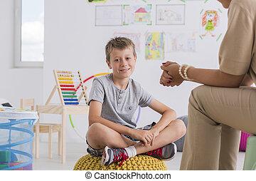 concept, garçon, psychologue, petit enfant
