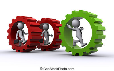 concept, gear., intérieur, collaboration, homme affaires, 3d