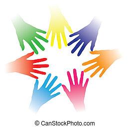 concept, gens, autre, communauté, tenu, liaison, association, groupe, gestion réseau, indiquer, coloré, équipe, illustration, aider transmet, gens, ensemble, multiracial, chaque, esprit, etc., social