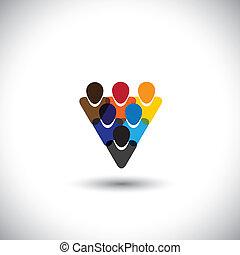 concept, gens bureau, communauté, intégrité, réseau, &, -, média, aussi, unité, vector., internet, coloré, projection, ligne, employés, représente, graphique, personnel, ceci, etc, communauté, social