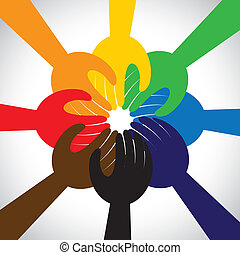 concept, gens, collaboration, vœu, promesse, groupe, -, aussi, cercle, unité, mains, solidarité, représente, gage, graphique, ceci, prendre, engagement, vecteur, icon., amitié, ou