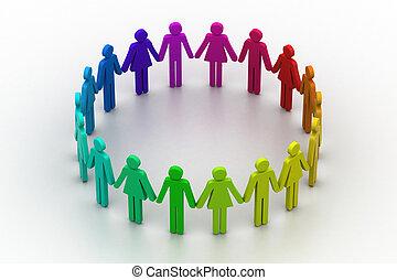 concept, gens, créer, équipe travail, circle., 3d