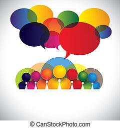 concept, gens, divers, membres, racial, personnel, gestion, &, média, -, aussi, planche, vector., blanc, spectacles, réseau, coloré, compagnie, employés, conférence, collier, multi, graphique, social, cadres