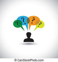 concept, gens, doutes, &, pensée, -, unanswered, aussi, parole, questions., questions, illustration, bulles, homme, représente, graphique, ceci, beaucoup, pensées, etc, vecteur, enquête