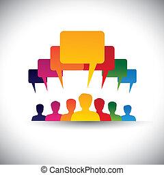 concept, gens, graphic., personnel, réunions, &, média, -, communication, aussi, planche, éditorial, motiver, compagnie, voix, direction, étudiant, gens, représente, graphique, ceci, union, etc, vecteur, social