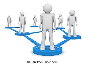 concept., gens, isolated., connecté, social, series., piédestaux, réseau, debout, 1000+, caractères, lines., une