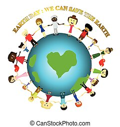 concept, gens, la terre, sauver, jour, la terre