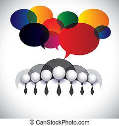 concept, gens, membres, gestion, &, média, -, communication, aussi, planche, vector., blanc, spectacles, réseau, compagnie, graphique, conférence, collier, interaction, employés, social, cadres corporation