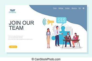 concept., gens, page, plat, equipe affaires, groupe, collaboration, équipe, atterrissage, joindre, notre, template.