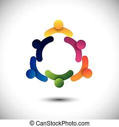 concept, gens, réunions, ensemble., enfants, &, ouvriers, aussi, communauté, cercle, jouer, graphique, groupes, dialoguer, représente, gosses école, employés, avoir, vecteur, amusement, ou
