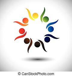 concept, gens, vif, apprentissage, fun., enfants, &, jardin enfants, aussi, cercle, excité, danse, coloré, jouer, graphique, représente, gosses école, gens, employés, ou, vecteur, avoir