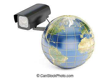concept, global, système, rendre, appareil-photo., la terre, sécurité, 3d